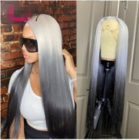 Ishow Brazilian 13*1 T Part 13x4 Transparent Lace Front Wig Straight Yellow Green Human Hair Wigs Pink Red Light Blue Purple Ombre Color for Women 8-26 inch Peruvian