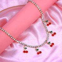 Bohemian Rouge Crystal Cerise Collier pendentif pour femmes mignonnes Sweet Sweet Strinest Strass Tennis Chaîne de tennis coréen Chaînes de bijoux