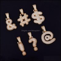 Pendants Jewelrybubble Letters Mens Symbol Necklaces & Pendant Us Dollar Sign Women Gold Sier Color Ice Out Cubic Zircon Hip Hop Jewelry Gif