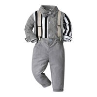 Boys Clothing Sets Boy Suits Child Children Clothes Kids Wear Spring Autumn Long Sleeve Striped Shirts Suspenders Pants Gentleman Outfits B7289