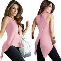 Women's T-Shirt Fashion Sleeveless Women Casual O-Neck Cross Loose Feminine Top Solid Clothing S M L XL