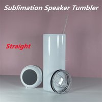 Sublimation Straight Speaker Tumbler White Blank Music Tumblers 304 Stainless Steel Coffee Mug Insulation Drinking Cup Wholesale A17
