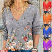 Women's T-Shirt 2021 Spring Emerald Print Casual Loose V-neck Long-sleeved Plus Size Tops
