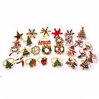 Fashion Christmas Sandkin Anneaux Alliage Cartoon Bell Snowflake Flake Elk Hotel Décoration Diamond Porte-serviettes DWA8878