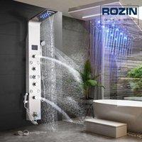 Brushed Nickel Shower Panel Wall Mounted Led Light Rain Waterfall Head Bath Set With Bidet Sprayer Massage Jets Bathroom Sets