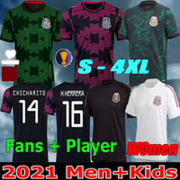 Donne + Men 2021 Soccer Jerseys Concacaf Gold Cup Camisetas 2122 Messico Fans Versione giocatore Chicharito Lozano Dos Santos National Team Kids Camicie da calcio