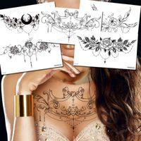 Corpo Jóia Adesivo Tatuagens Temporárias Tatuagens Pretas Lace Sexy Tattoo Peito Waterp Flores Rose Peônias Mandala Padrão Decorações
