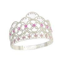 Crown Miss Teen USA Rosa Farbe CZ Stein Strass Kristall Verstellbare Stirnband Braut Hochzeit Haarschmuck Tiaras Pageant Queen Crown MO237