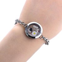 Bangle 1pc 25mm Bracelet For Women Floating Charms Locket Glass Round Living Memory Femme Stainless Steel Jewelry Gift