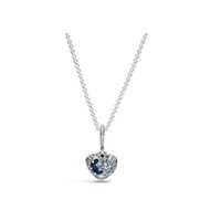 NEW 2021 100% 925 Sterling Necklace Silver Blue Moon & Stars Heart Fit DIY Original Fshion Jewelry Gift 111