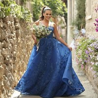 Royal Blue Lace Bridesmaid Dresses Spaghetti Straps Neck A Line Country Maid Of Honor Gowns Floor Length Plus Size Organza Wedding Guest Dress