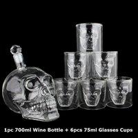 Crystal Skull Head S Conjunto de taza 700ml Whisky Whisky Botella de cristal de vino 75ml Vidrios Tazas Decanter Home Bar Vodka Beber Tazas