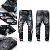 Mens Badge Rips Retts Designer Designs Jeans Readeded Roade Biker Slim Fit Промытый мотоцикл джинсовые мужчины S хип-хоп мода мужские штаны 2021