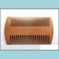 Brosses Soins Outils de coiffage ProduitsPocket Boîte à barbe Bard Peigne Double côtés Super étroites Petites peignes en bois épais Pente Madeira poux outil de cheveux Pet