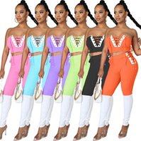2021 Designer new womens tracksuits fashion leisure positioning splicing bra strap two piece sets Slim Breast wrap trousers Suit y537