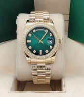 Hohe Qualität Gold Diamant Herren Womens Watch 36mm Saphir Datum Mechanische Automatische Uhren Edelstahlband Armband Mode Armbanduhr Tasche
