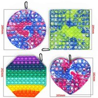 Fidget Toy Bubble Pop Poppers Board Sensory Toys Big Size Jumbo Tie Dye Rainbow Push Bubble Puzzle With Carabiner Simple Key Ring Finger Game Boutique G5714JD