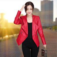 Plus Size 3XL Women Leather Jacket 2021 Motorcycle Female Clothing Short Slim Stand Collar PU Coat Women's & Faux