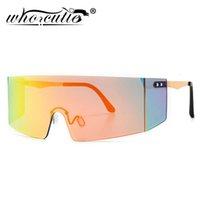 Büyük boy kalkan gözlük güneş gözlüğü erkekler kadınlar 2021 marka tasarım büyük çerçeve tek parça maske fütüristik güneş gözlükleri shades s281