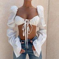 Yaz kadın giyim va voom düz renk trompet kollu dantel kat göbek kısa ceket kadın t-shirt