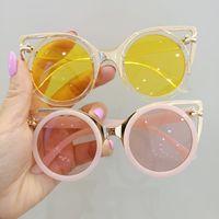 패션 어린이 고양이 귀 선글라스 UV 400 여자 태양 안경 어린이 금속 프레임 라운드 해변 휴가 안경 A7384