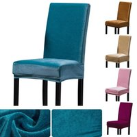 Chair Covers Shiny Velvet Fabric Solid Color Stretch Cover Spandex Plush Slipcovers Protector For Banquet El Living Room