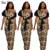 Kadın Tulumlar Tulum Baskı Tulum Kadınlar Afrika Giysileri Etnik Tarzı Afrika Giyim Kısa Kollu Uzun Pantolon Kemer 2021