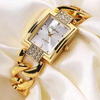 Designer Luxury Brand Watches Dames Es Wrist Garanterad Kvinnor Crystal Diamond Gold Rostfritt stål 's Klocka