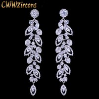 CWWZircons Luxury CZ Bridal Jewelry Gorgeous Top Quality Cubic Zirconia Pave Long Dangle Wedding Earrings for Brides CZ396 210611