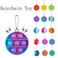 Fidget Toy Party Supplies Keychian Push Bubble Pop Colorido Redondo Jogo Sensorial Ansiedade Ansiedade Relevante Criança Crianças Adultos Chave Anel Presente Q12