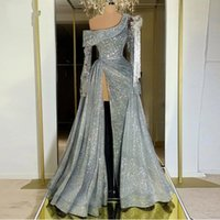 Sparkle slivery Sexy Side Split Mermaid evening Dresses one shoulder Full Sleeves Crystal Beaded sequined Long Prom Gowns With Detachable Train