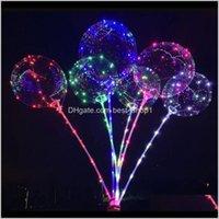 Autres événements Festifs Fesses Fournitures Accueil Jardin Drop Livraison 2021 Brillant Bobo Ball Ball Christmas Arc-en-ciel LED Ballon Balloons Décor Anniversaire X