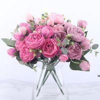 Rose Rosa Seide Pfingstrose Künstliche Blumen Blumenstrauß 5 Großer Kopf und 4 Knospe Gefälschte Blumen für Home Hochzeit Dekoration Indoor DHB6207