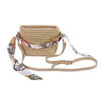 Shoulder Bags Woven Rattan Women Bucket Straw One-shoulder Small Beach Summer Silk Scarf Panelled Trendy Simple Casual Large-capacity Bag