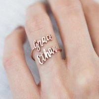 Doppelname ringe benutzerdefinierte zwei name ringe baby namen paare namen mom personalisierte ring mutter tochter ringe familienring