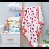 Toalhas vestes Baby Bath Bath Towel 6 Camadas Infantil Swaddling Cobertor Gaze Algodão Born Envoltório Pano Carrinho de Carrinho de Papel Coberturas 24 Designs DW6237 Ihtci