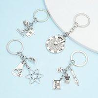 حلقات المفاتيح الماس مطلي سبيكة العتيقة سير مزيج مفتاح حلقة الإبداعية المعرفة القلم ساعة مفتاح سلسلة قلادة
