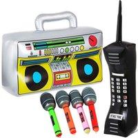 Украшение партии Надувная фольга Воздушные шары Телефон Микрофоны Box Box Радио для тематических поставок Rappers Hip Hop B-Boys Костюм Аксессуар