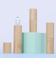 200 pack set 3ml 5ml shell de bambu roll-on vidro frascos de perfume com bolas de rolos de metal - refilável amostras magro aromaterapia rolo de óleo essencial em