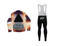 Yarış Setleri İlkbahar Yaz 2021 EF Eğitim İlk Takım Italia Uzun Kollu Bisiklet Jersey Giyim Giyim + Önlük Pantolon Jel Pad Boyutu XS-4XL