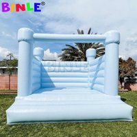 Pastel Light Blue Inflatable Bounce House White Wedding Bouncy Castle With Plato PVC Material For Kids Todders Party