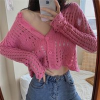2021 spring and autumn new sweater cardigan women's solid color hollow out round neck Knitted TopXEU2