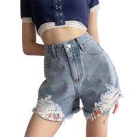 Women's Jeans Vintage Ripped Hole Fringe Blue Colors Denim Shorts Women Casual Korean 2021 Summer Girl