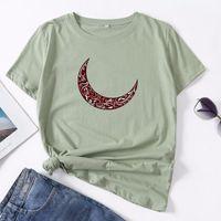 Women's T-Shirt Summer Women T Shirt Plus Size S-5XL 100% Cotton Short Sleeve Moon Arabic Letters Print Female Casual Woman Tees Tops