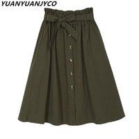 Юбки Yuanyuanjco летние женщины MIDI повседневная хлопчатобумажная мода ремень лук эластичная высокая талия однобортное колено