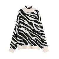 Women's Sweaters 2021 Autumn And Winter Lazy Wind Zebra Pattern Loose Hood Long Sleeve Sweater Blouse