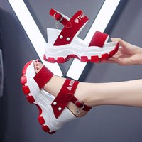 Platform Sandals Women 2021 Summer Chunky High Heels Female Wedges Shoes for Woman Fish Toe Red Sandalia Feminina