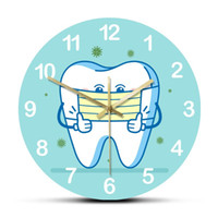 Tooth Using Mask Rouned Printed Wall Clocks Dental Sign For Informing Patients Non Ticking Home Decorative Watch