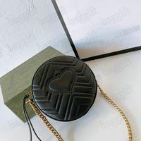 MARMONT mini rotondo matelasse a tracolla catena in pelle nera womens womens borse cuore borse piccole borse designer crossbody