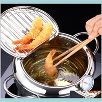 Pfannen Kochgeschirr Küche, Essbar Hausgarten LMETJMA Japanischer Frittiertopf mit A und Deckel 304 Edelstahl Kitchen Tempura FR